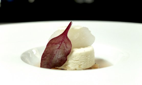 Di alto livello tutti idessert: Rabarbaro, la sua acqua, semifreddo alle mandorle, sorbetto all'aceto di mele, cialca di cioccolato bianco