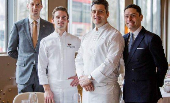 Il team del Dorchester di Londra: Ruben Desport, Thibault Hauchart, Jean Philippe Blondet, Enrico Baronetto
