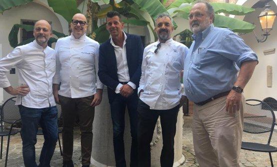 Da sinistra: Moreno Cedroni, Paolo Brunelli, il Sindaco Mangialardi, Mauro Uliassi e Paolo Marchi