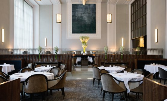 The new dining room at Eleven Madison Park, always on two levels, but closer to each other
