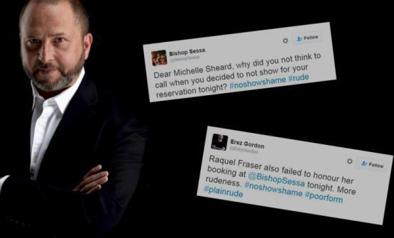 """Il ristoratore australianoErez Gordonha deciso di pubblicare su Twitter, con l'hashtag#NoShowShame, i nomi dei clienti """"scomparsi"""". L'immagine è diwww.therail.media"""