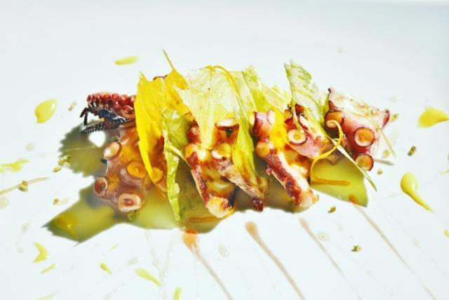 La Millefoglie di polpo alla Birra Moretti con riduzione di birra e maionese al lime e zenzero di Alessandro Lucassino, chef del ristorante Oasi di Follonica (Grosseto), piatto in concorso nel 2013