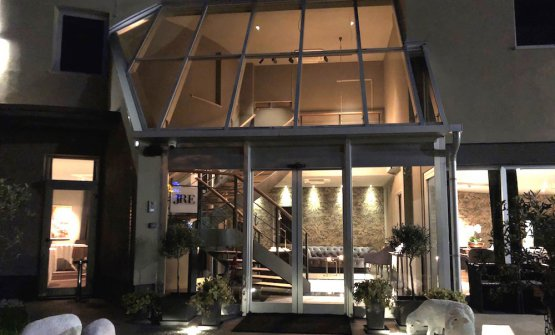 The entrance to DAM boutique hotel & restaurant