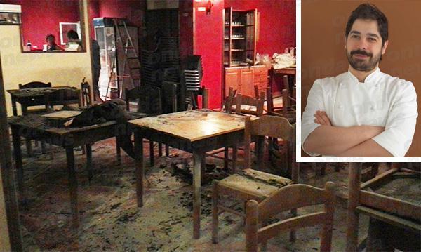 Un incendio doloso ha interessato l'altro giornoil nuovo ristorante diCristian Torsiello, che parla a Identità Golose. Nella foto, idanni al locale e lo chef, nel riquadro (da ondanews.it). Ma l'inaugurazione vi è stata comunque