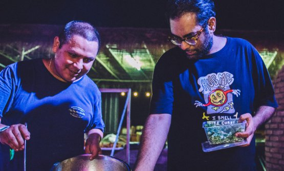 "Gaggan (on the right) with Japanese friend and colleague Takeshi ""Goh"" Fukuyama. The two chefs will close their respective restaurants by the end of 2020, in order to open Gohgan in Fukuoka, Japan, the following year (photo wonderfruitfestival.com)"