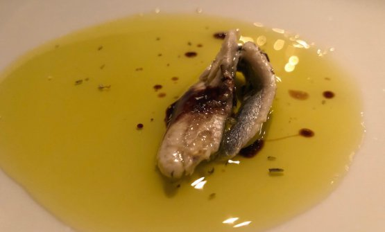 Amuse bouche: Anchovy filet, extra virgin olive oil, Slovenian salt flakes from Pirano and cream of vinegar