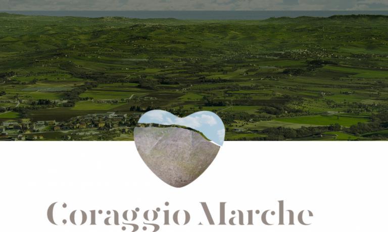 Il logo di Coraggio Marche: un sito pensato per dare visibilità alle storie dei tanti produttori marchigiani colpiti dal sisma