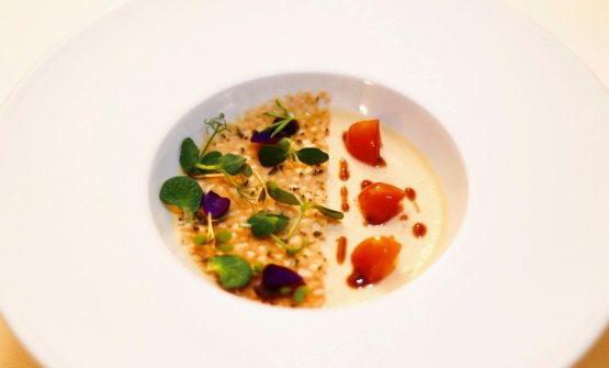 Foie gras d'oca al vapore, kumquats sciroppati a