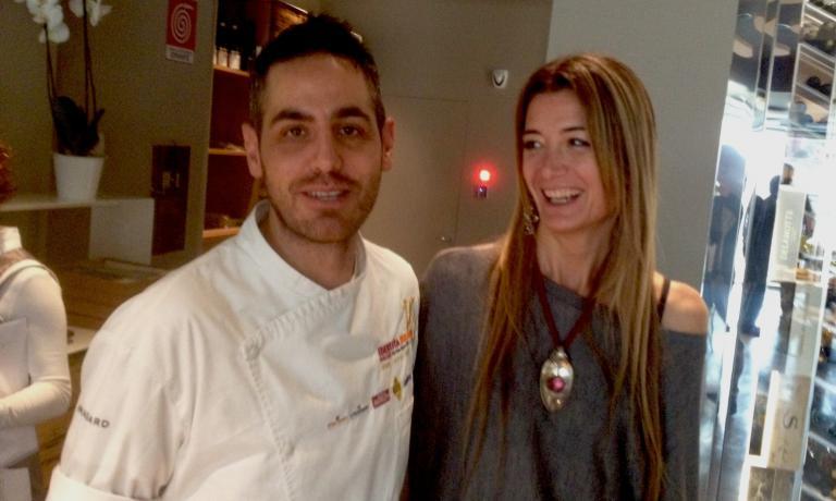 Domenico Della Salandra, coordinatore dei cuochi e Alessandra Rotondi, presentatrice della giornata