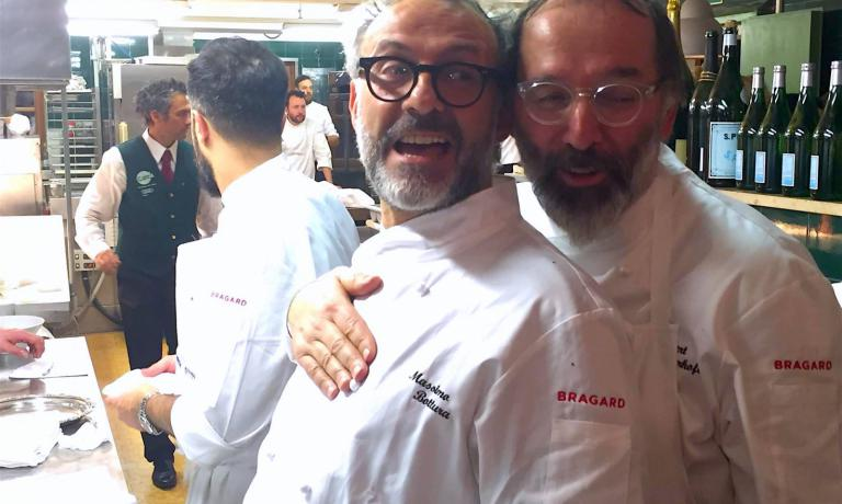 Massimo Bottura e Norbert Niederkofler alla cena di gala della penultima giornata di Care's