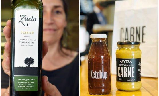 Sulla sinistra, Carolina Colagreco e l'olio Zuelo di Zuccardi, uno degli ingredienti di lusso usati dalla catena fastfood di Colagreco. Sulla destra, il ketchup è prodotto artiginalmente da PampaGourmet di Guillermo Frusto, con pomodori agroecologici. Mentre la senape dijon è prodotta da Arytza di Leo Merlo, entrambi senza additivi né conservanti chimici