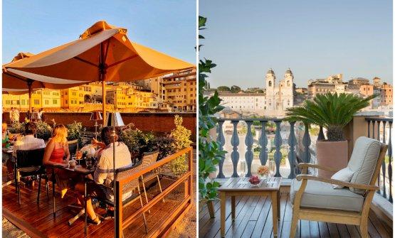 Il dehor del Caffè dell'Oro di Firenze e la terrazza del Portrait Roma