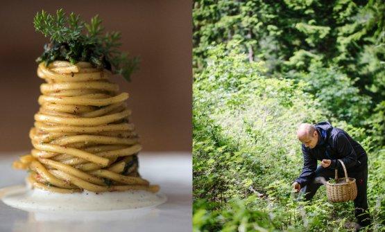 Spaghetti al lievito e, sulla destra, lo chef alla ricerca di erbe