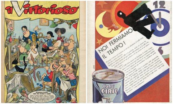 Benito Jacovitti, copertina de Il Vittorioso, 25 settembre 1955: illustra l'arrivo nel 1954 della televisione in Italia e il cambiamento delle abitudini in famiglia all'ora di cena. A destra controcopertina de La Lettura-Caffè Cirio, 1 febbraio 1930