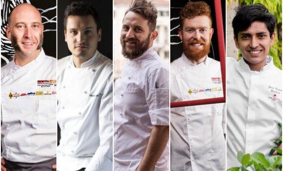 Cinque chef dei cinque ristoranti bartoliniani in Italia: da sinistra Marco Ortolani, Gabriele Boffa, Donato Ascani, Alex Manzoni, Juan Camilo Quintero