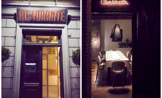 L'entrata del ristorante e quello della CantinettaGoffi, unico tavolo per una cena più intima