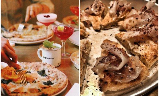 La pizza Spinaci, salmone e fiordilatte (foto Anastasia Artamonova) e quella Lardo e cacao