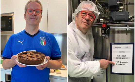 Ernst Knam con la crostata al cioccolato Frau Knam Señorita 72 e, a destra, con il cacao speciale - che ha chiamato Frau Knam Señorità, omaggio alla moglie Alessandra - che ha selezionato al termine di un viaggio in Perù nel 2018, leggi Ernst Knam, il suo nuovo cacao e uno sciroppo d'acero tutto da scoprire