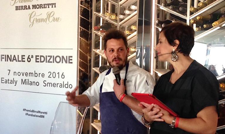 Francesco Brutto, chef di Undicesimo Vineria a Treviso, qui ritratto accanto a Francesca Barberini alla finale del premio Birra Moretti Grand Cru a Milano, novembre 2016