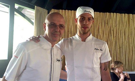 Franco e Stefano Pepe, padre e figlio, all'Albereta nel giugno 2017