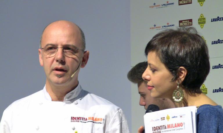 Franco Pepe con Francesca Barberini a Identità Milano