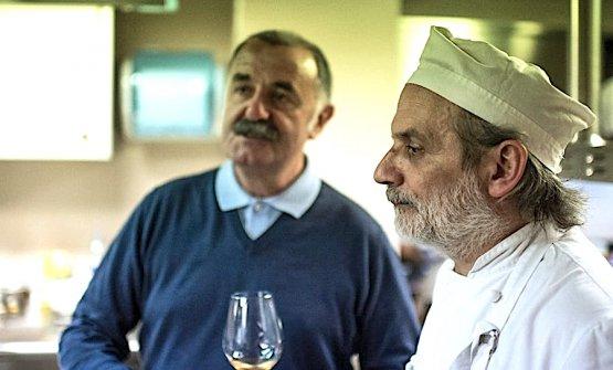Corrado Assenza e Fausto Fratti in un'immagine d'archivio di Spessore a Torriana. Foto Gambero Rosso