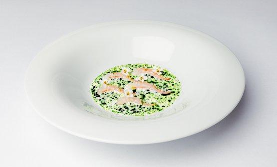 Due piatti del Jordnær. QuiGamberi crudi, wasabi, aneto...
