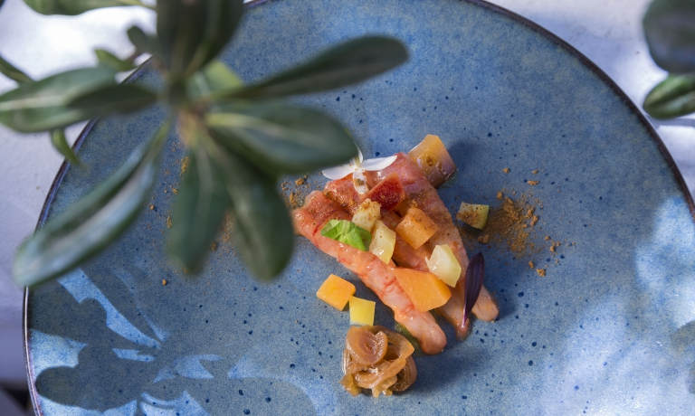 Gamberi rossi di Salina, Bloody Mary, frutta e lim