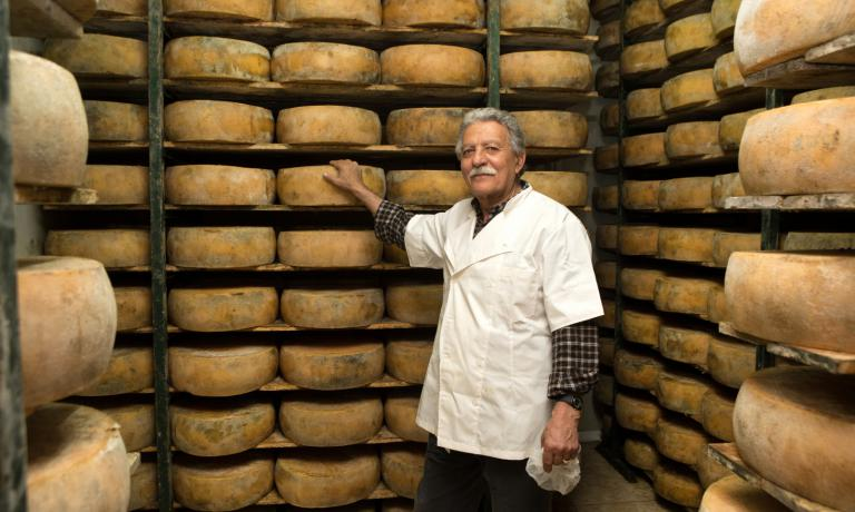 Cheese producer Nikos Gasparakis, from the village
