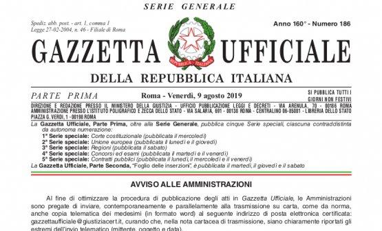 La Gazzetta Ufficiale del 9 agosto