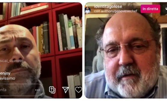 Genovese con Paolo Marchi in diretta instagram sull'account di Identità Golose