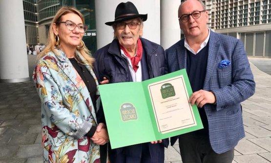 Giacomo Bulleri con Tiziana Bulleri e Marco Monti alla premiazione del suo Da Giacomo come Bottega Storica, novembre 2018
