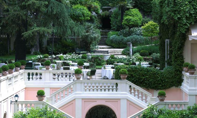The splendid garden of the Hotel de Russie