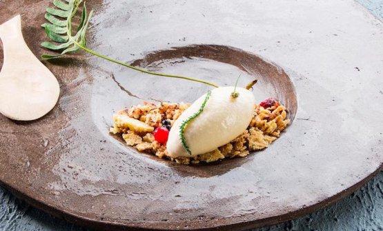 Icy corteccia, il dessert di Gilmozzi (foto Brambilla/Serrani)
