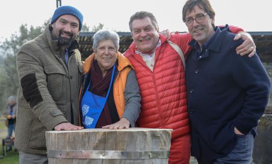 L'allevatore Giuseppe Grasso, Faith Willinger, Dario Cecchini e Alessio Planeta a Carnalia
