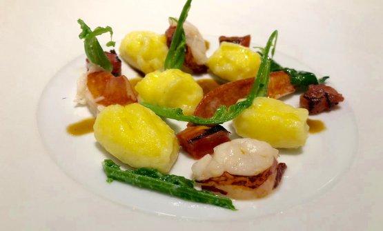 Gnocchi di cavolfiore, astice, broccolo fiolaro, p