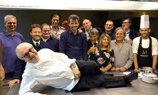 Marchesi con alcuni dei suoi ex allievi, fra cui Pietro Leemann, Brendan Becht, Andrea Berton e Davide Oldani