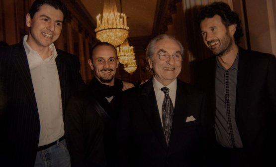 Marchesi con alcuni dei suoi allievi più noti: Andrea Berton, Enrico Crippa, Carlo Cracco