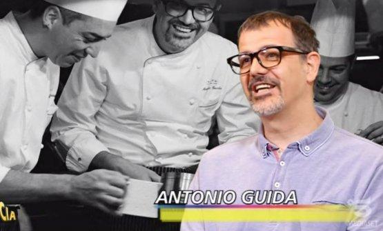 Un doppio Antonio Guida. A sinistra, in bianco e nero, Federico Dell'Omarino, la sua ombra, sulla destra il pasticciere Nicola Di Lena