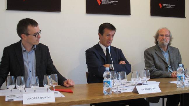Andrea Bonini e Gigi Brozzoni con il sindaco di Bergamo, Giorgio Gori (fotowww.simpatico-melograno.it)