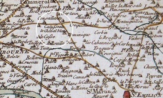 Château Cheval Blancsu una mappa storica