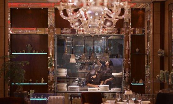 La cucina a vista dell'Acanto, ristorante all&