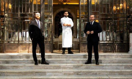 Il maître Alessandro Nocera, lo chef DomenicoStile, il restaurant manager e sommelier Rudy Travagli