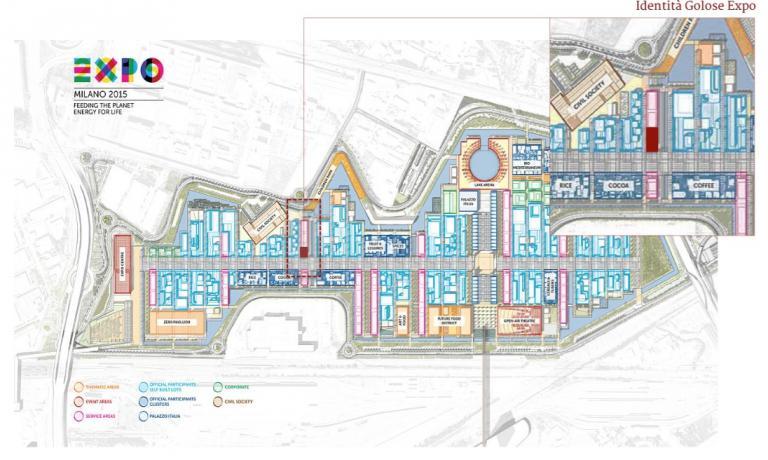 La planimetria di Expo 2015 con evidenziato lo spazio Identità Expo S.Pellegrino