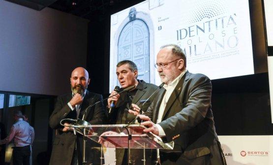 Andrea Ribaldone, Claudio Ceronie Paolo Marchi durante il congresso dello scorso marzo. Ribaldone coordinerà la brigata fissa di Identità Milano (foto Brambilla-Serrani)