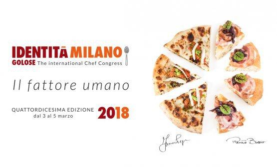 La pizza simbolo di Identità Golose 2018, realizzata metà da Renato Bosco, metà da Franco Pepe