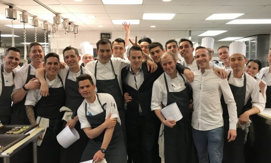 Rancati con lo staff dell'Eleven Madison Park