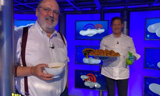 Paolo Marchi con Chicco Cerea, uno degli ospiti di Capolavori italiani in cucina. Lo chef del Da Vittorio a Bergamo ha presentato i suoi straordinari cannoncini, qui il video