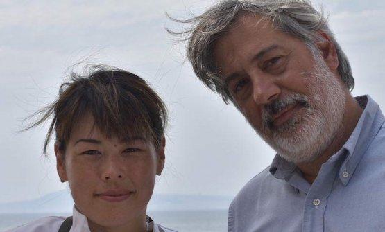Fumiko Sakai con il titolare del Bikini, Giorgio Scarselli