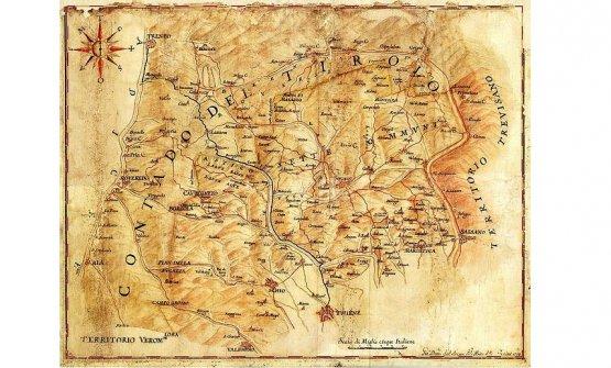 L'Altopiano dei Sette comuni in una mappa di Giandomenico Dall'Acqua delTerritorio vicentino, XVII secolo. Vicenza,Biblioteca Civica Bertoliana